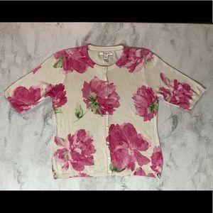 EUC Liz Claiborne Cream & Pink Floral Cardigan XL